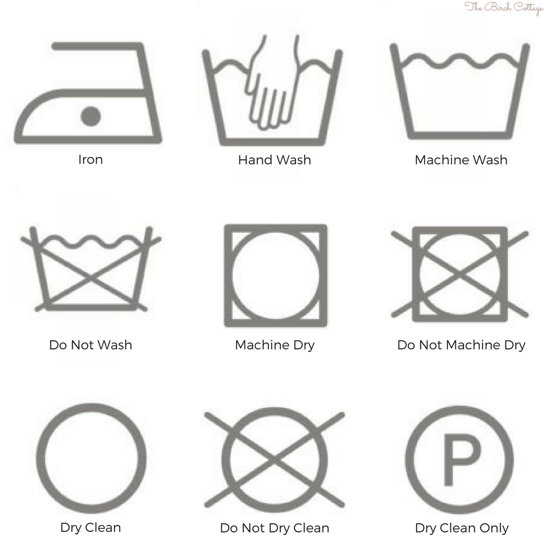 Laundry Care Symbols By The Birch Cottage The Birch Cottage