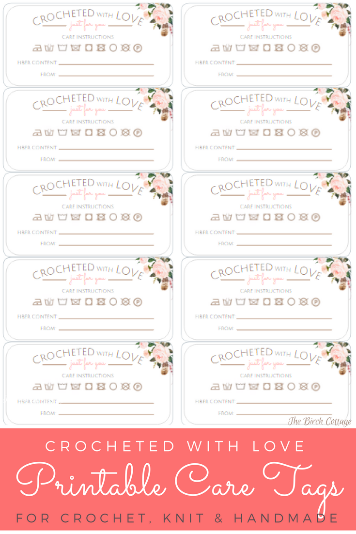 Crocheted with Love Printable Care Tags for Handmade Gifts from The Birch Cottage