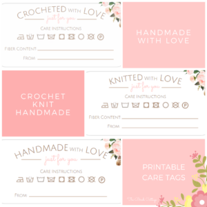 Printable Care Tags for Your Handmade, Crocheted or Knitted Gifts