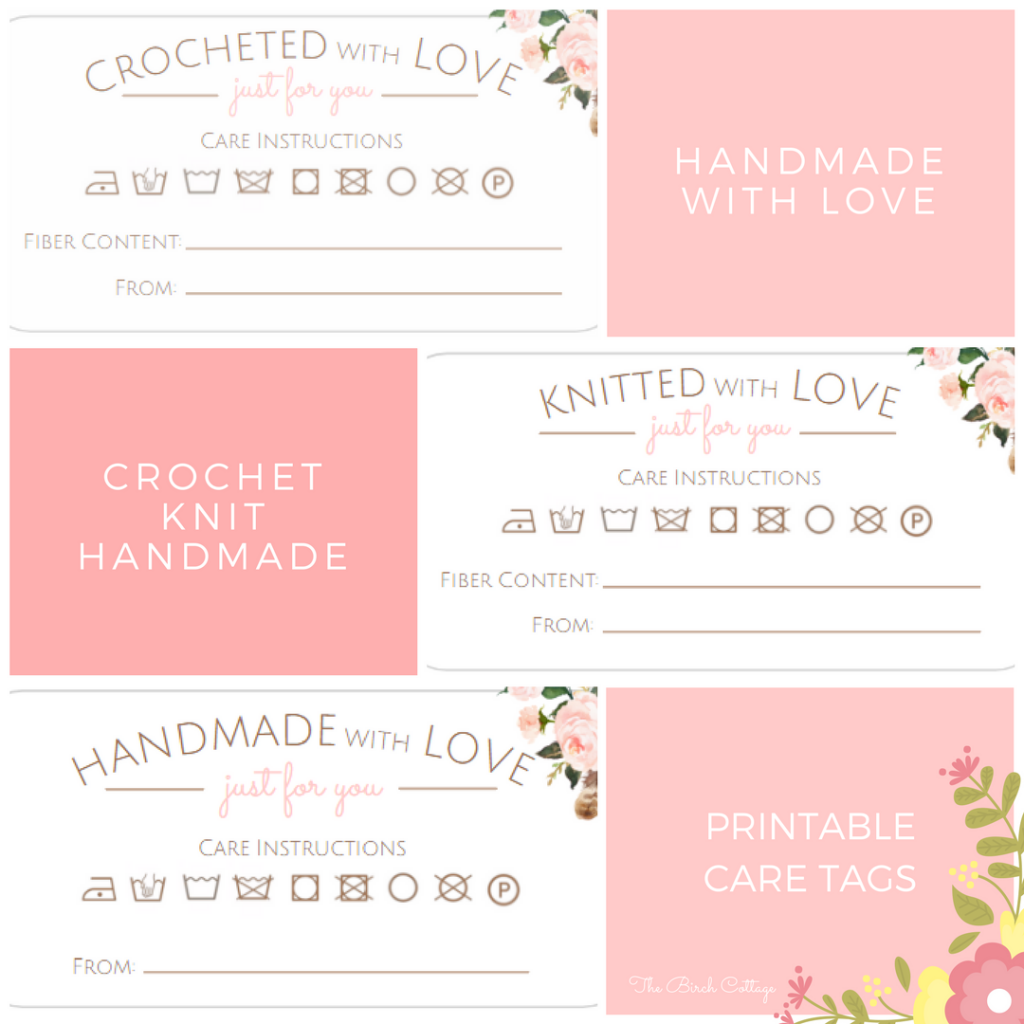 Printable Care Tags for Handmade Gifts from The Birch Cottage