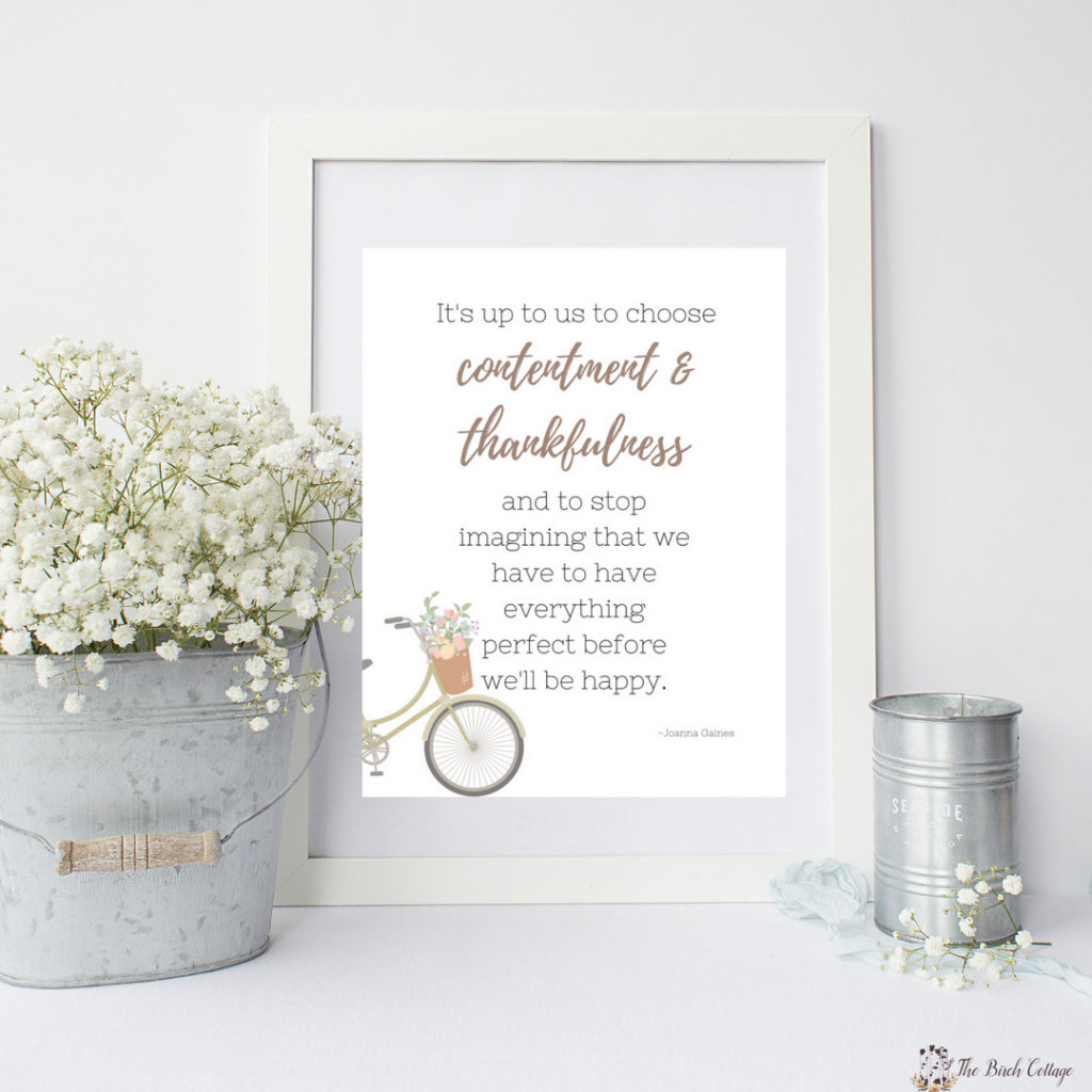 Contentment and Thankfulness Print from The Birch Cottage