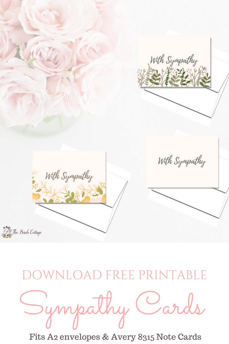 Printable sympathy cards from The Birch Cottage