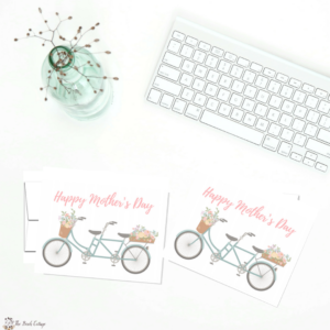 printable floral bicycle mothers day card by the birch cottage - Printable Note Cards