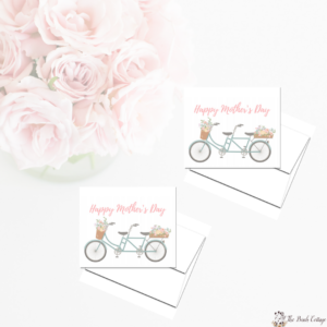 Printable Floral & Bicycle Mother's Day Card for Mom