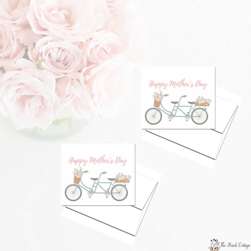 Printable Floral Bicycle Mothers Day Card by The Birch Cottage