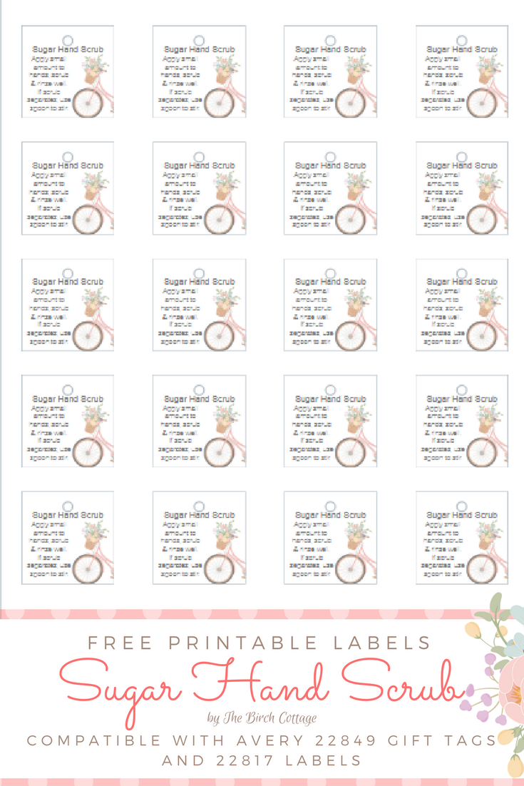 Printable Floral Bicycle Sugar Hand Scrub Labels for Mother's Day gift giving by The Birch Cottage