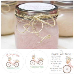 NEW! Floral Bicycle Sugar Hand Scrub Labels for Mother's Day