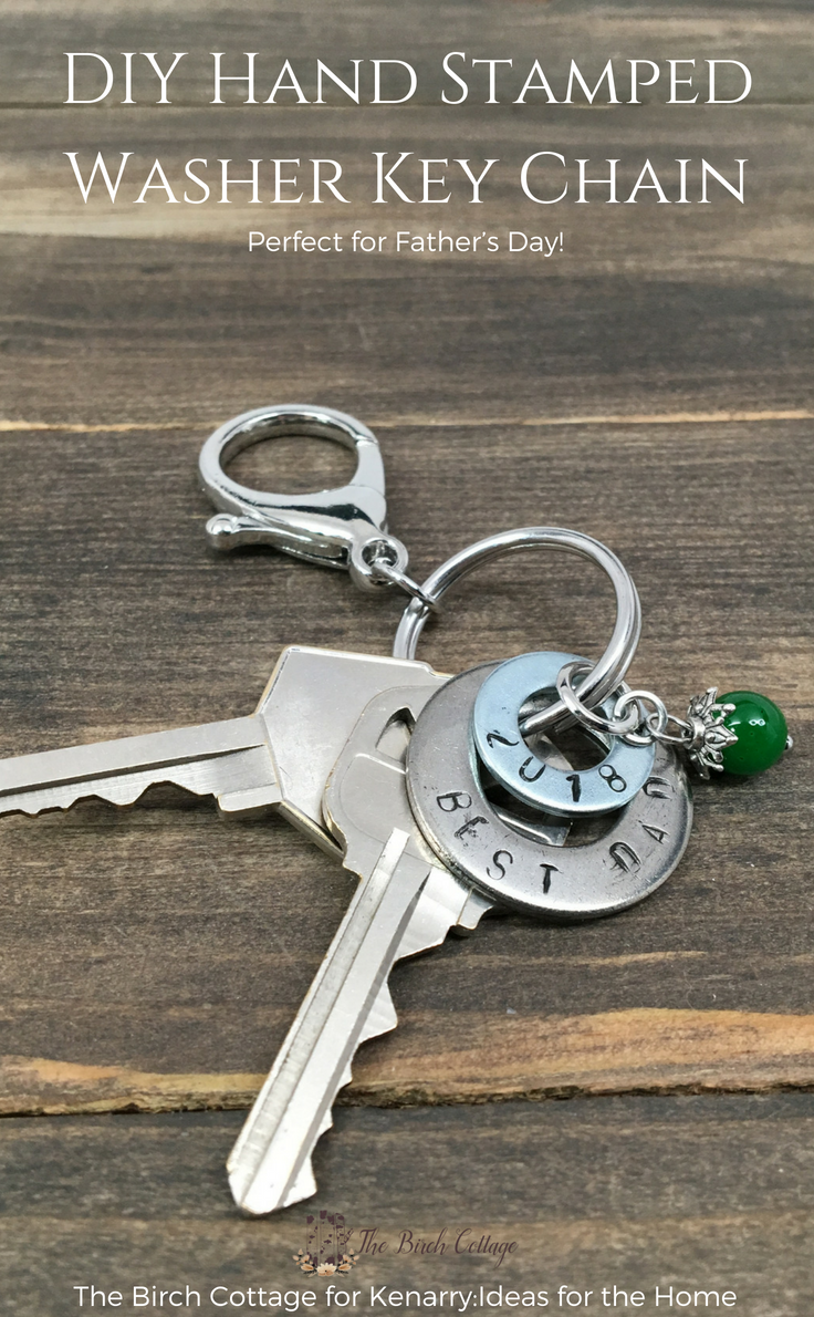 DIY Hand Stamped Washer Key Chain by The Birch Cottage