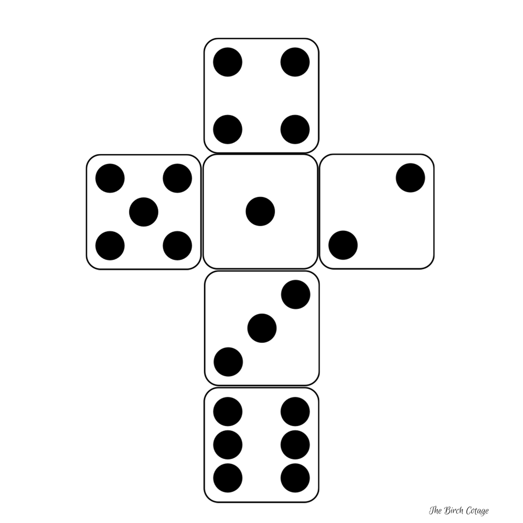 Dice dot configuration for Yahtzee dice