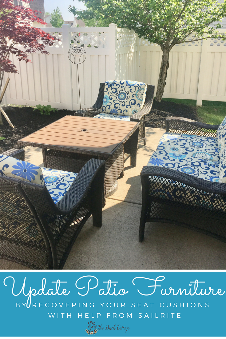 Update Patio Furniture Cushions by recovering your seat cushions with fabric from Sailrite