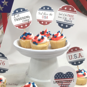 Free Printable Patriotic Cupcake Toppers for Independence Day Celebrations!