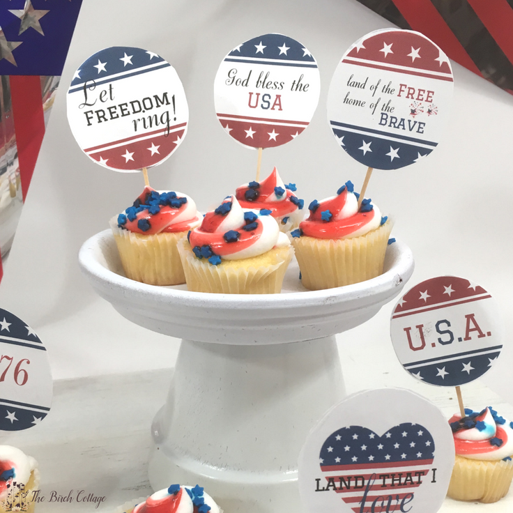 Patriotic Cupcake Toppers from The Birch Cottage