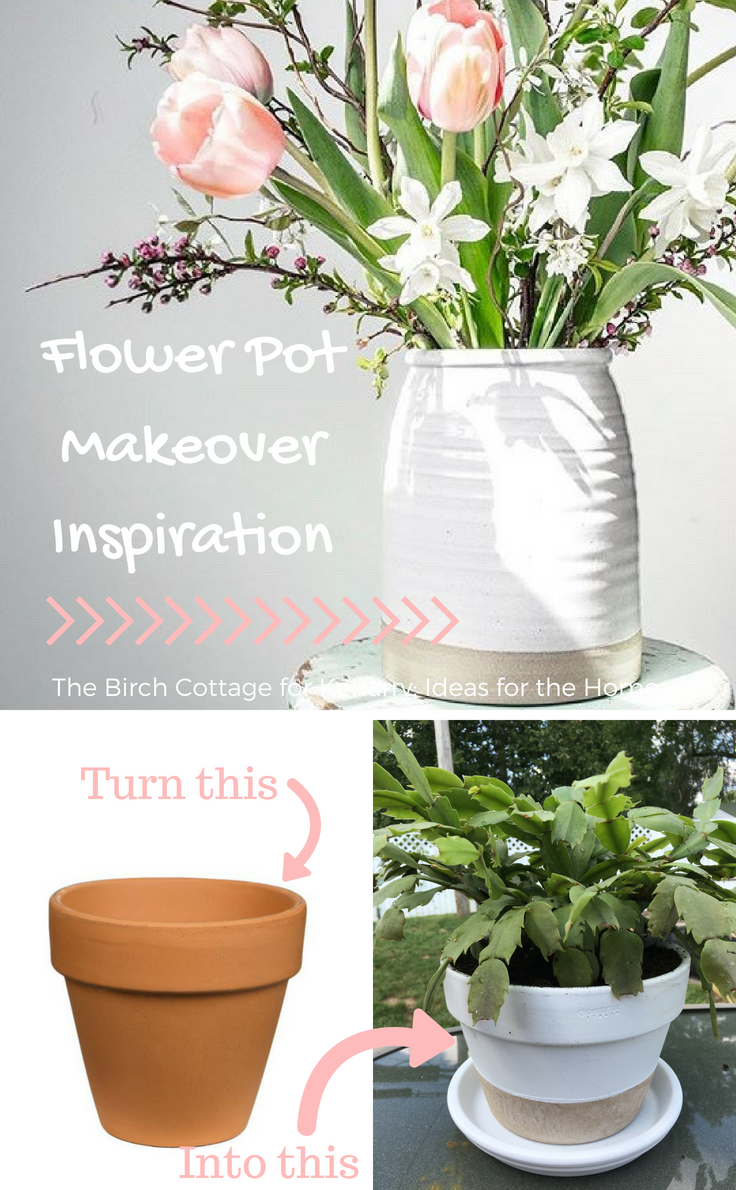 Flower Pot Makeover with Two Tone Paint by The Birch Cottage