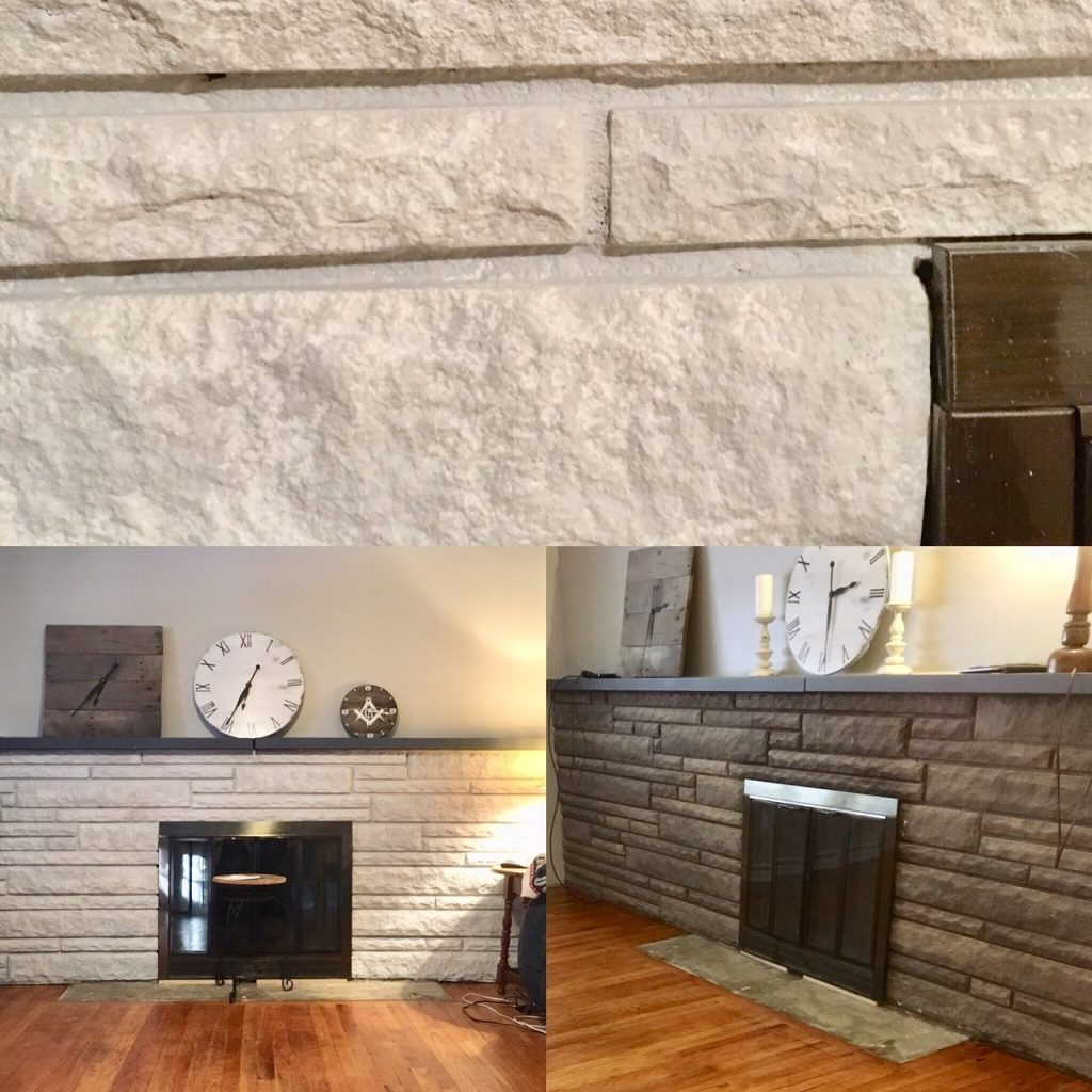 Paint a Stone Fireplace - Our Living Room Renovation by The Birch Cottage