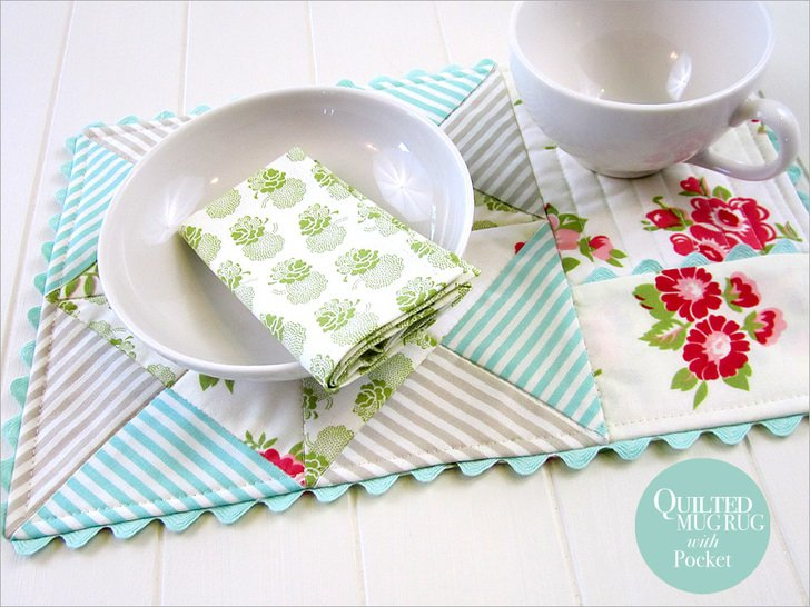 Beginner Quilting Project Ideas - Quilted Mug Rug with Pocket by Sew 4 Home
