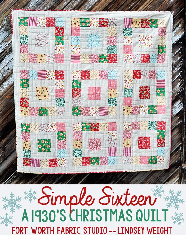 Beginner Quilting Project Ideas - Simple Sixteen 1930's Christmas Quilt