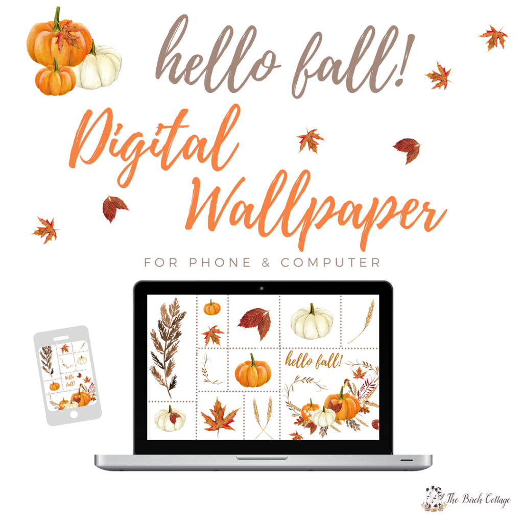 Hello Fall Digital Wallpaper by The Birch Cottage