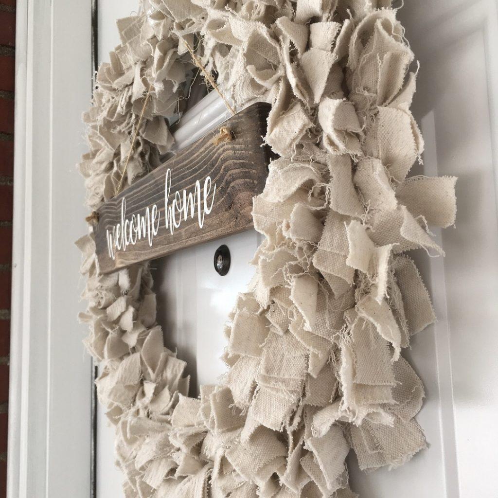 Diy Rag Wreath Using Drop Cloth The Birch Cottage