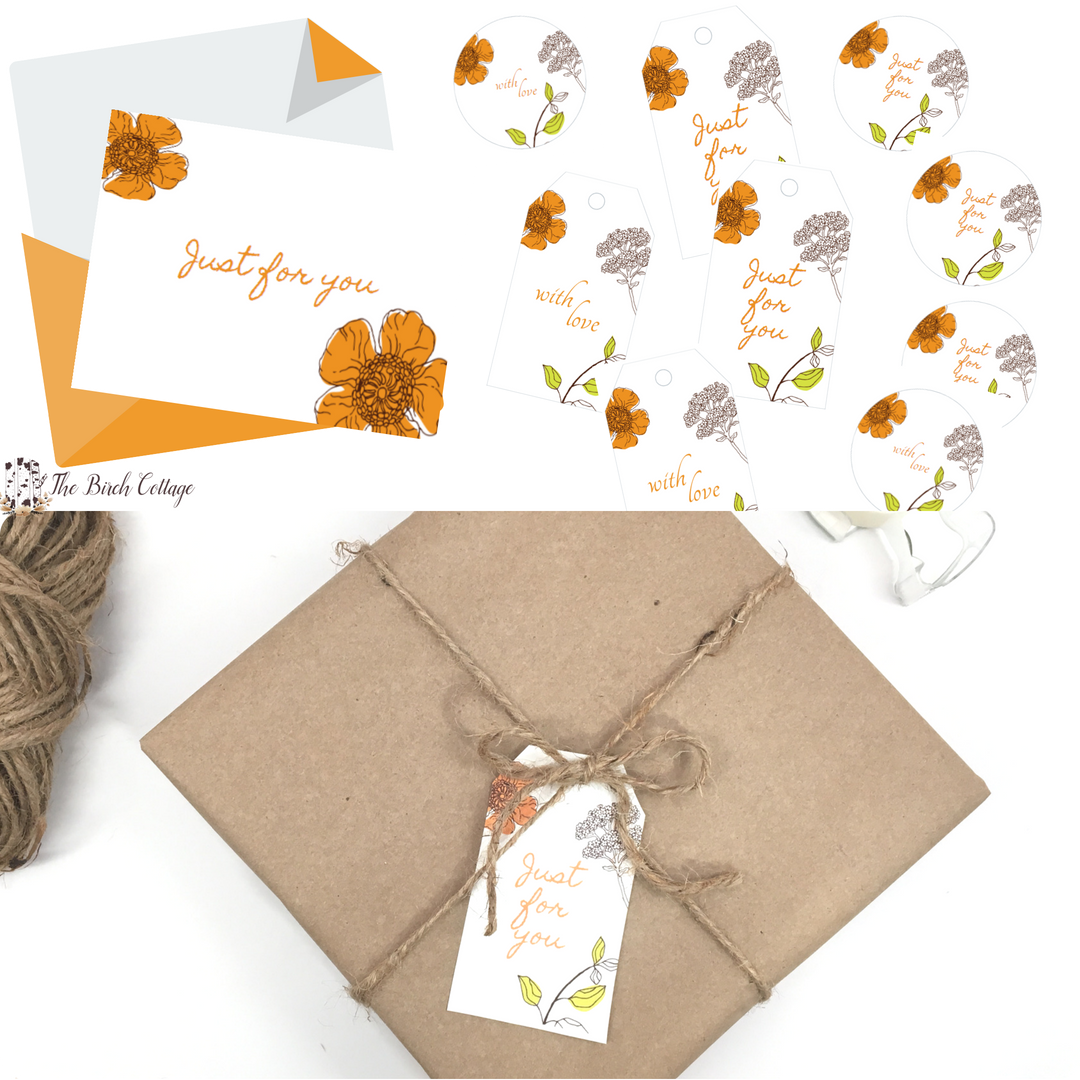 Just for You Note Cards, Gift Tags, Gift Labels by The Birch Cottage