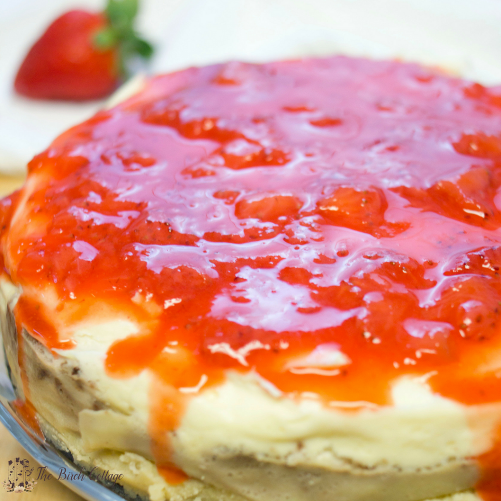 Instant Pot Keto Cheesecake with Strawberry Sauce by The Birch Cottage