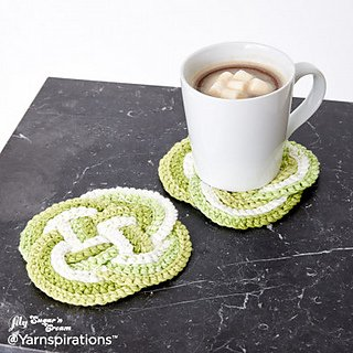 Crochet Knot Coaster pattern from Yarnspiration
