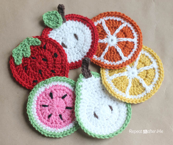 Crocheted Fruit Coaster Patterns by Repeat Crafter Me