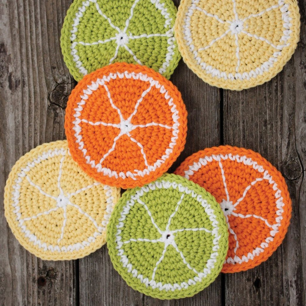 Citrus Slice Crochet Coasters Pattern from Yarnspirations