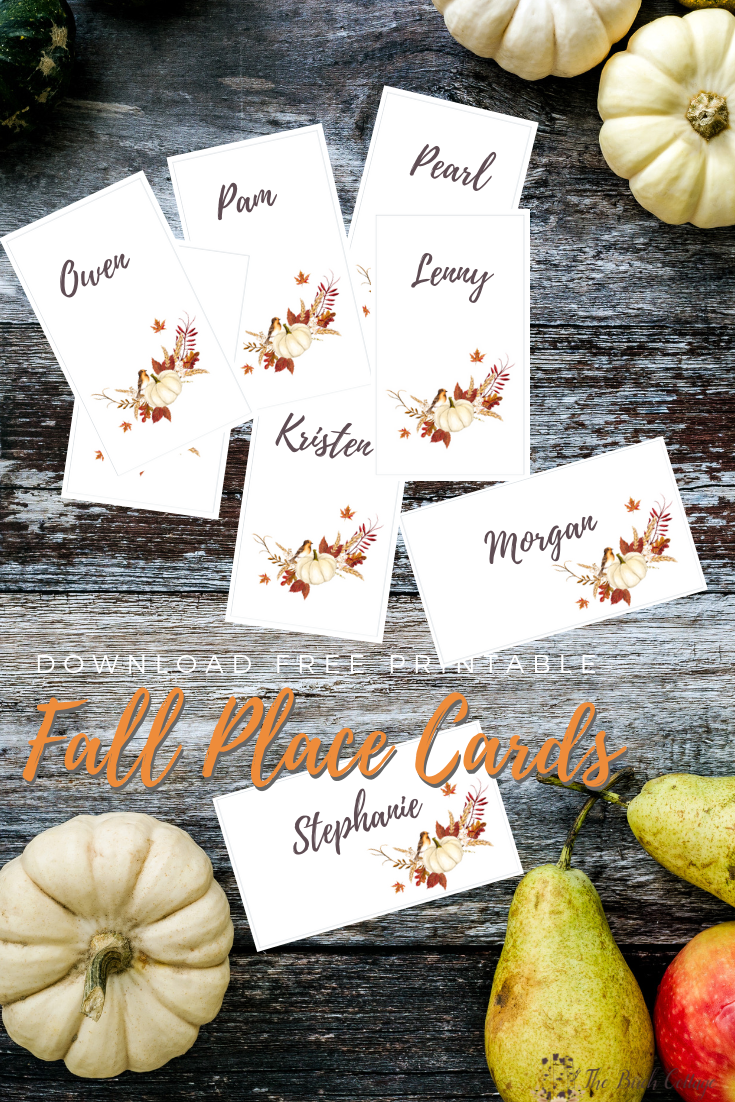 Free Fall Printable Place Cards & Thanksgiving Tablescape Ideas by The Birch Cottage