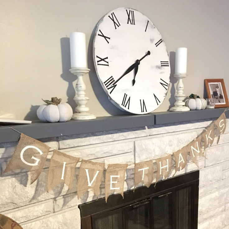 Give Thanks Burlap Banner from Burlap Ribbon by The Birch Cottage for Kenarry