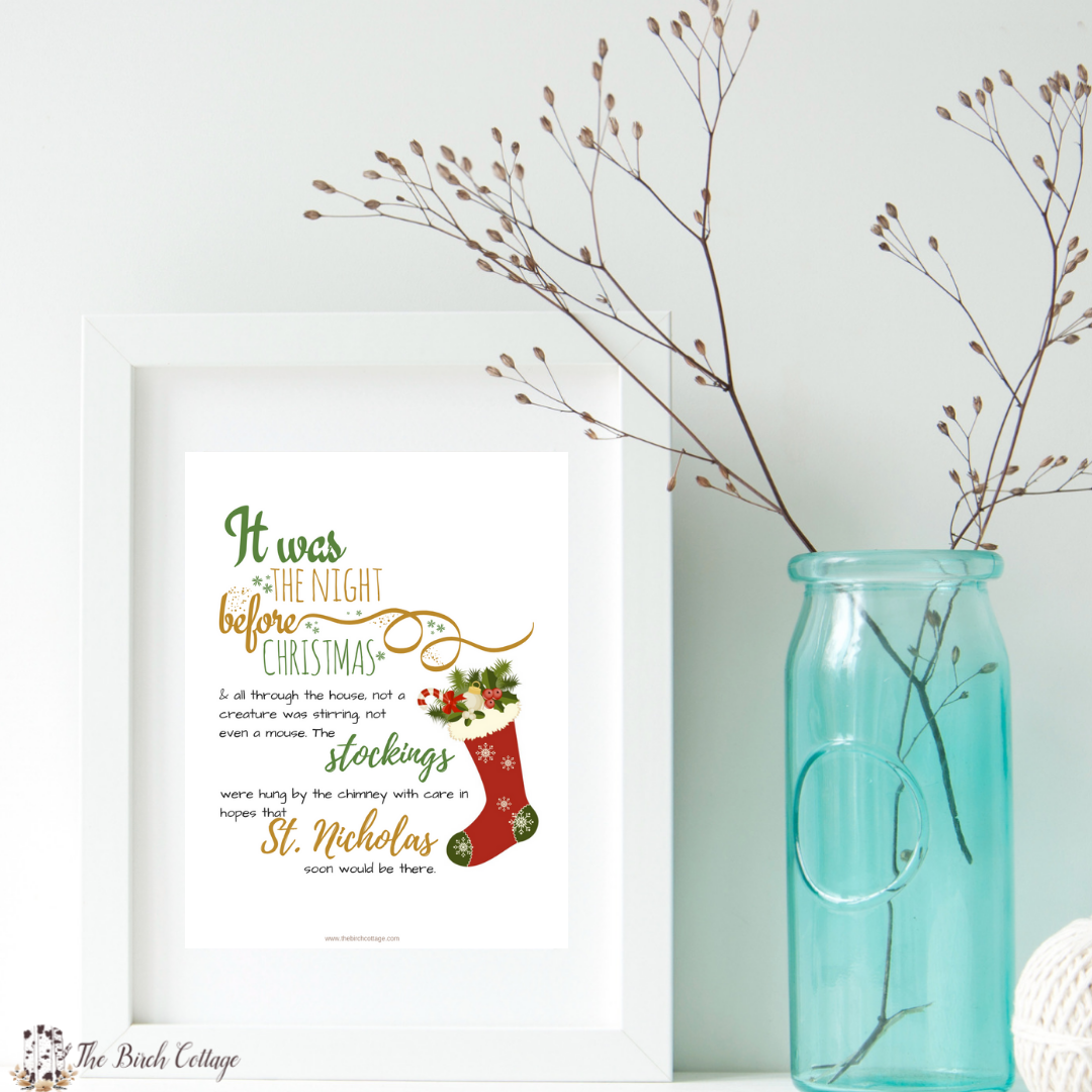 The Night Before Christmas Print by The Birch Cottage