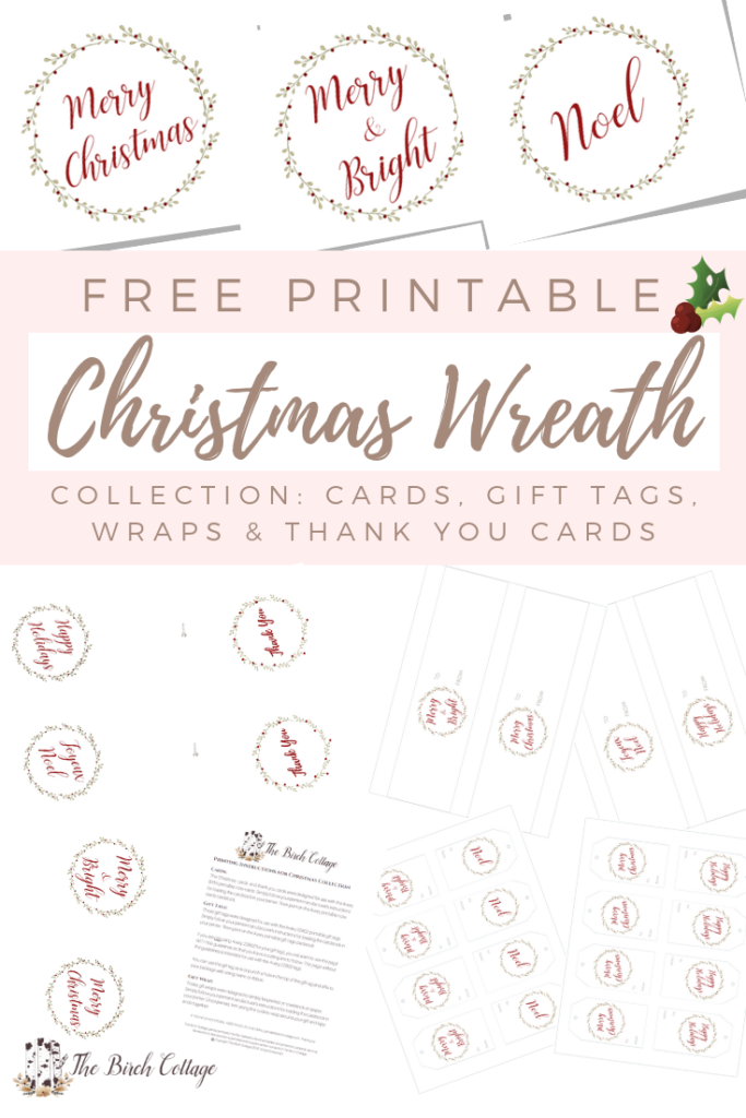 Christmas Wreath Collection of Free Printables - The Birch Cottage