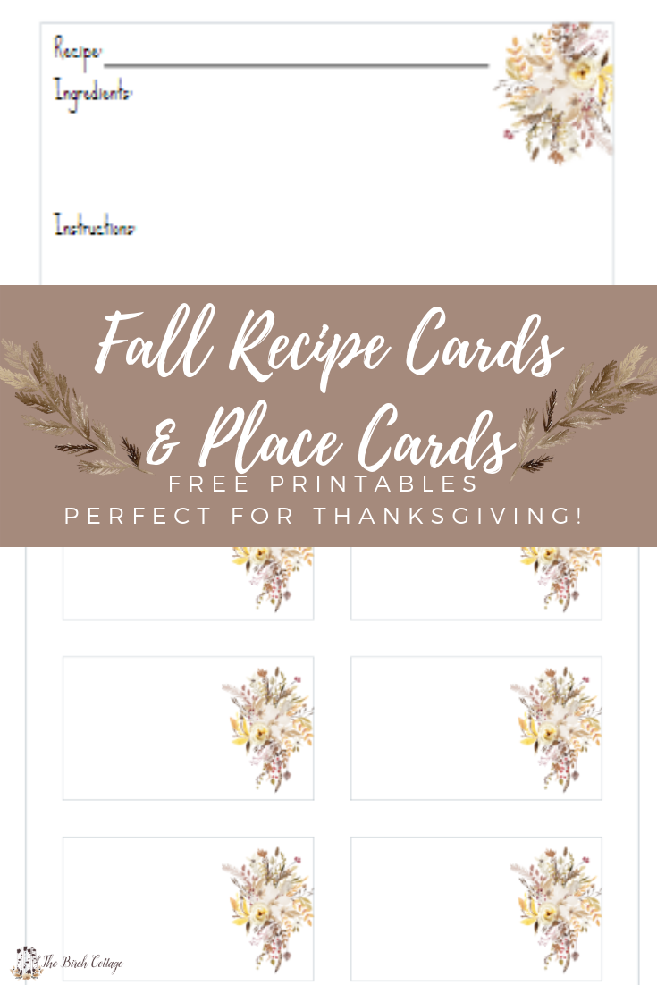 Fall Recipe Cards and Place Cards by The Birch Cottage 01