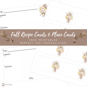 Celebrate Thanksgiving with this Thanksgiving Dinner menu and free printable recipe cards and place cards from The Birch Cottage!