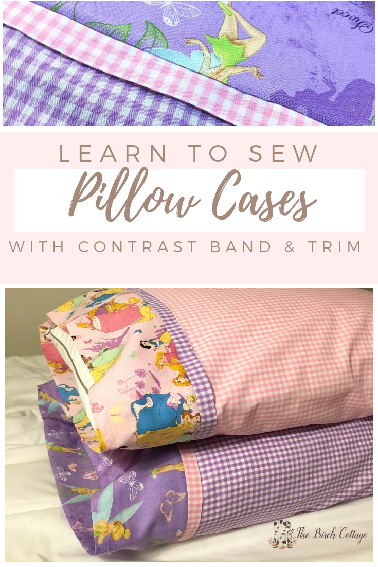 Learn how to sew a pillow case with contrast cuff and trim using the burrito method. Handmade pillowcases are easy to make and can be so easily customized! #pillowcase #sewingtutorial