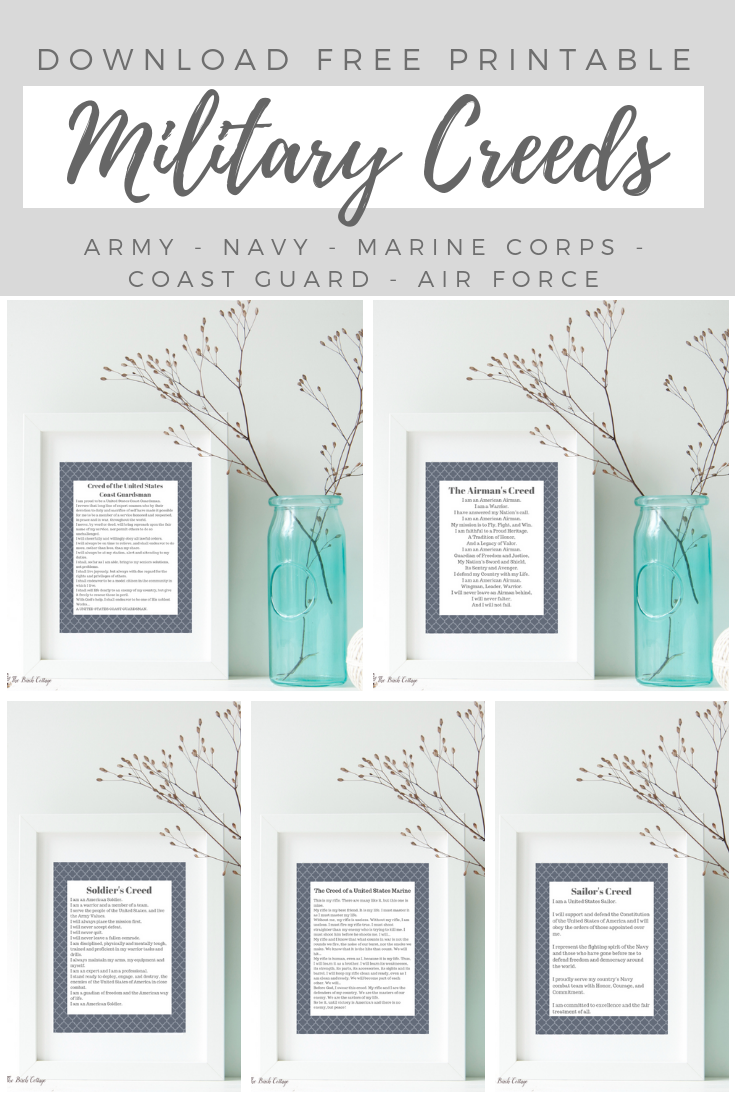 Download these free 8x10 military creeds prints to honor your favorite soldier, sailor, airman, guardsman or marine. Thank you for your service!