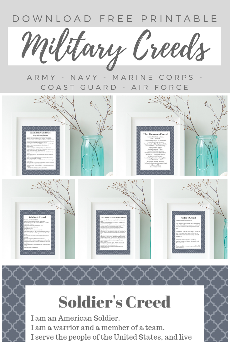 Download these free 8x10 military creed prints to honor your favorite soldier, sailor, airman, guardsman or marine. Thank you for your service!