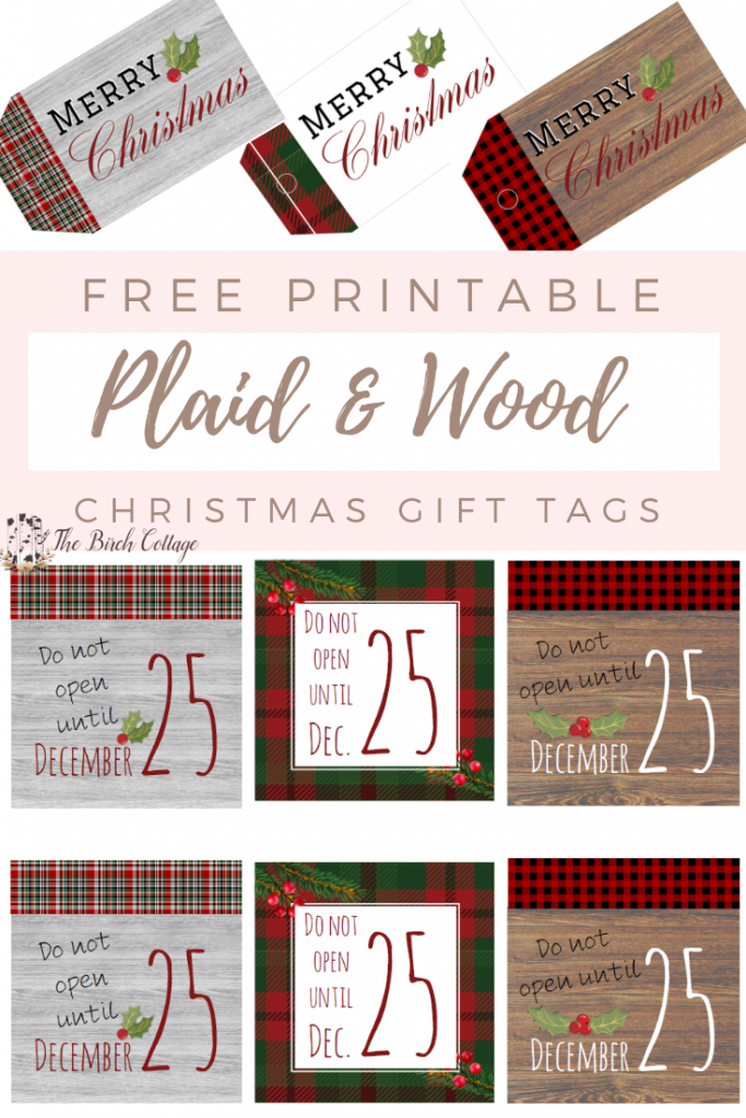Plaid and Wood Christmas Gift Tags by The Birch Cottage