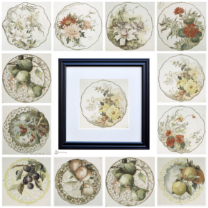 Vintage China Plate Illustrations by The Birch Cottage