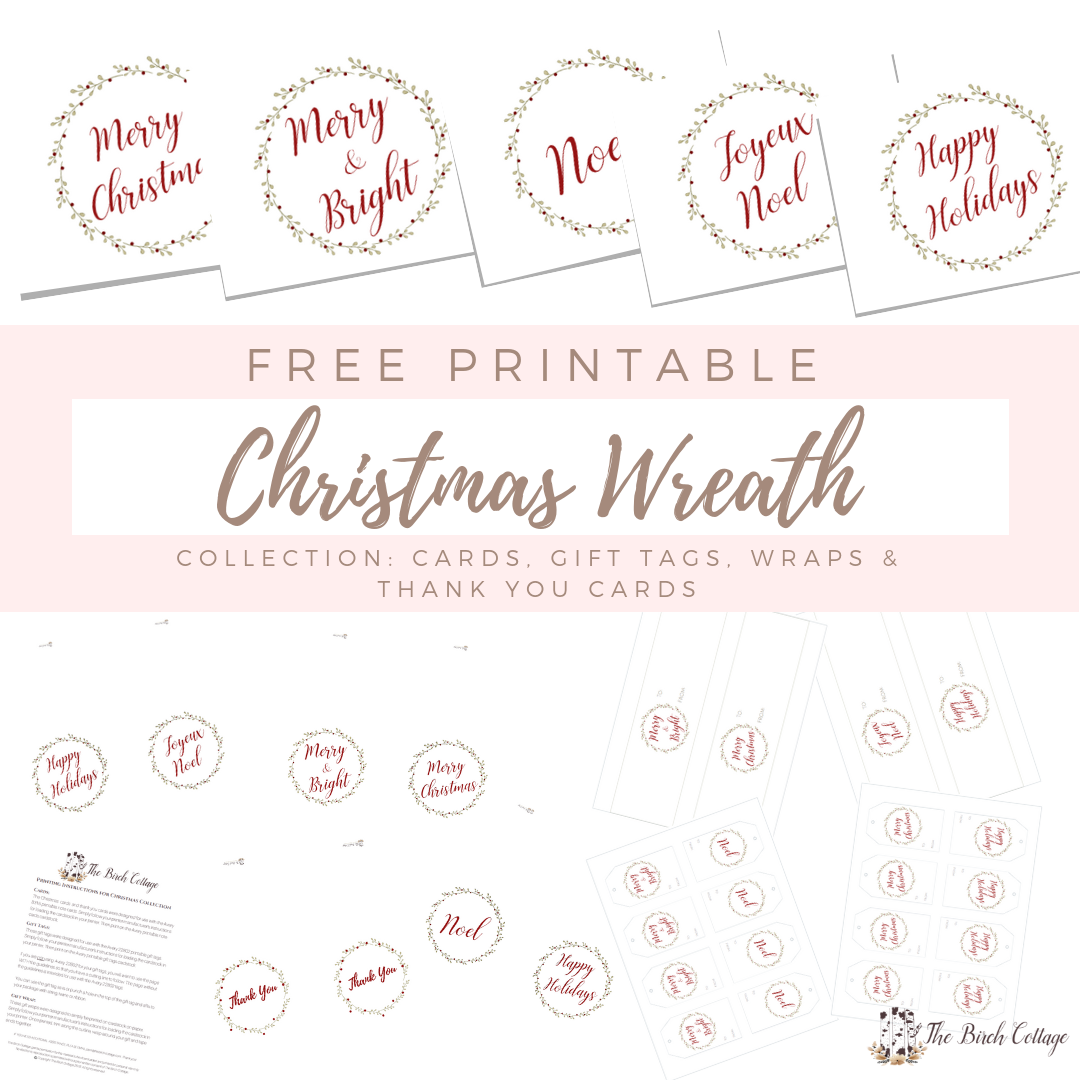 Free Printable Christmas Wreath Collection by The Birch Cottage