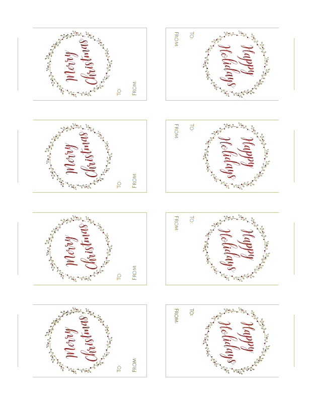 Free Printable Christmas Wreath Collection by The Birch ...