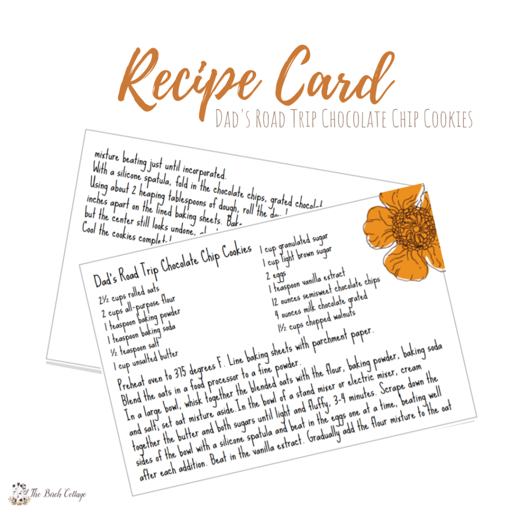 Dads Road Trip Chocolate Chip Cookies Recipe Card by The Birch Cottage