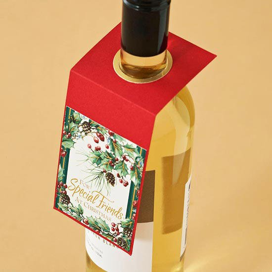 Ideas for Repurposing Christmas cards - Wine Bottle Gift Tags