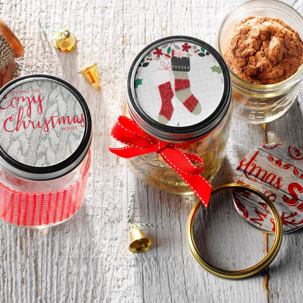 Ideas for Repurposing Christmas cards - Jar Toppers