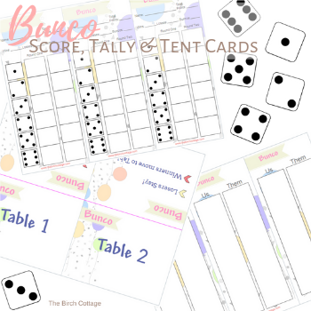 Free Printable Bunco Score Tally and Tent Cards by The Birch Cottage