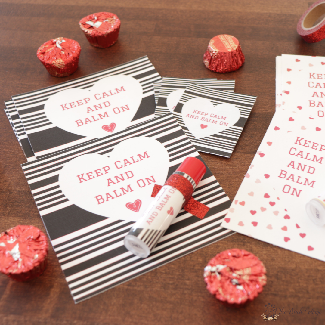 Keep Calm and Balm On Lip Balm Valentines and Wrappers by The Birch Cottage