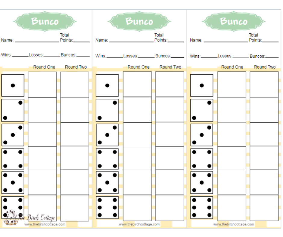 image relating to Printable Bunco Score Cards called Spring Impressed Yellow and Environmentally friendly Bunco Printables - The
