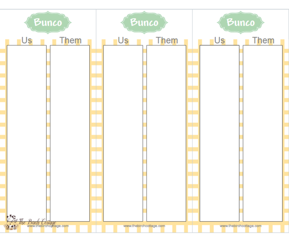 photo relating to Cute Bunco Score Sheets Printable named Spring Encouraged Yellow and Environmentally friendly Bunco Printables - The