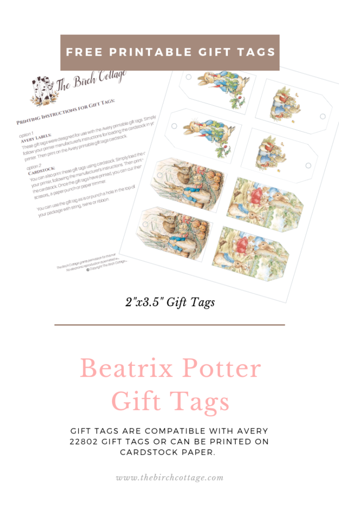 photograph relating to Printable Cardstock Tags named Peter Rabbit Reward Tags Other Easter Printables - The Birch