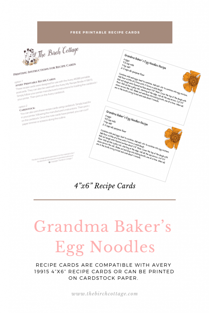 Grandma Bakers Egg Noodles Recipe Card by The Birch Cottage