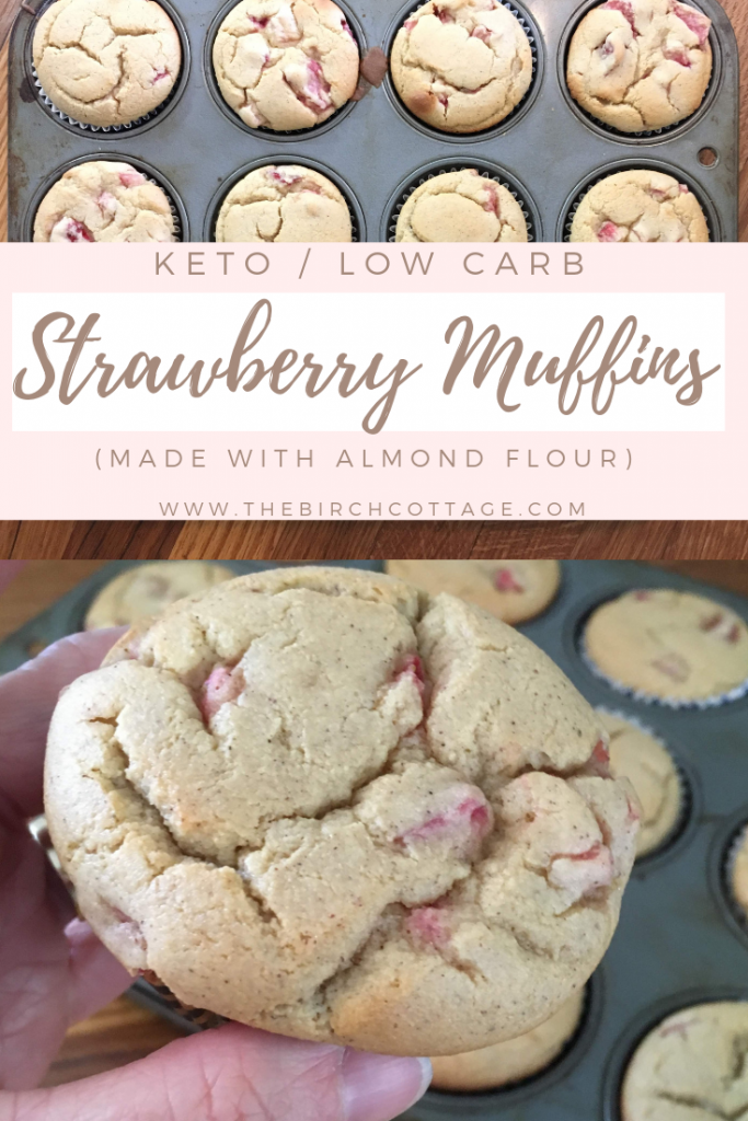 Low Carb Keto Strawberry Muffins Recipe by The Birch Cottage